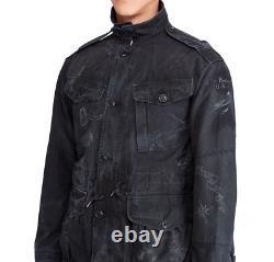 $495 Polo Ralph Lauren Mens Vintage Military Hawaii Stencil Black Bomber Jacket