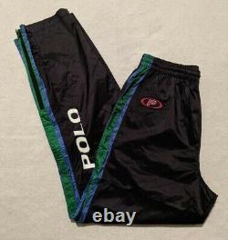 90s Polo Sport Ralph Lauren Pepsi Stadium P-Wing Race Track Pants size M VINTAGE