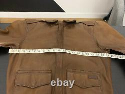 $995 Polo Ralph Lauren Small A2 Farrington Brown Leather Jacket RRL VTG Aviator