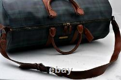 Authentic POLO Ralph Lauren Vintage Green Check Leather Travel Boston Bag A0795