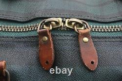 Authentic POLO Ralph Lauren Vintage Green Check Leather Travel Boston Bag A4201
