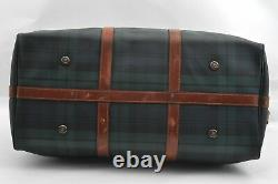 Authentic POLO Ralph Lauren Vintage Green Check Leather Travel Boston Bag A7831