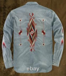 Denim Supply Ralph Lauren Medium Shirt RRL Western Polo Aztec Southwestern VTG