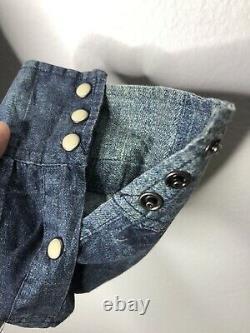 Denim Supply Ralph Lauren Small Patchwork Blue Shirt RRL Western VTG Polo Rodeo