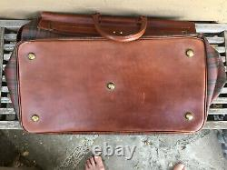 Fine 1980s Vintage POLO Ralph Lauren Plaid Canvas Leather Weekender Travel BAG