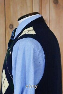Gents Polo Ralph Lauren Argyle Waistcoat Cardigan Cotton Cashmere Sz XL Vintage