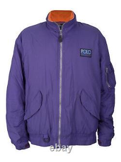 Men's Polo Ralph Lauren Hi Tech Jacket Purple Orange Fleece Zip Spellout Vtg L