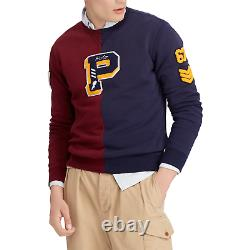 Mens Polo Ralph Lauren Fleece Sweatshirt P67 P-Wing Patch Varsity Navy NWT VTG