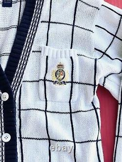 Mens VTG Polo Ralph Lauren Crest Logo Cardigan Grid Knit Sweater sz M
