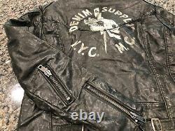 NWT $498 Polo Ralph Lauren Motorcycle Jacket Denim Supply Rare MC VTG NYC Skull