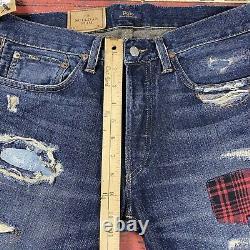 NWT Mens 30x32 Polo Ralph Lauren Jeans Sullivan Slim Vtg Distressed Patchwork