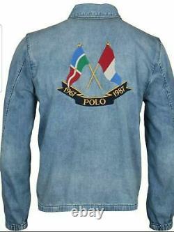 NWT Polo Ralph Lauren CP93 Cross Flags Full-Zip Denim Bomber Jacket Vintage 1987