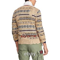 NWT Polo Ralph Lauren Vintage Distressed Fair Isle Eton cardigan sweater M