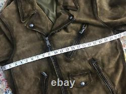 New Polo Ralph Lauren Large Brown Distressed Leather Jacket VTG RRL Biker Moto