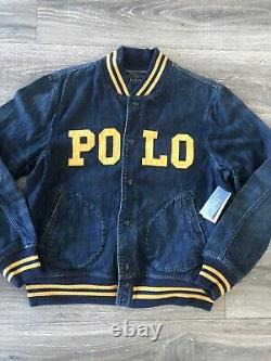 New Polo Ralph Lauren Varsity Vintage Style Denim Jean Jacket Men's Size Large