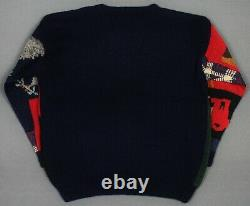 New Vintage Ralph Lauren Country RL89 Sweater Large Patchwork Stadium Bear Polo