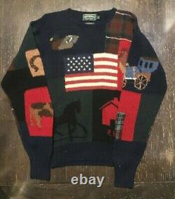 POLO COUNTRY RALPH LAUREN Vtg 89 Hand Knit Wool Patchwork Sampler Sweater Flag M