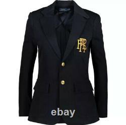 POLO RALPH LAUREN Designer Navy Blue & Gold Embroidered Logo Blazer Jacket