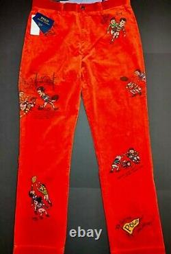 POLO RALPH LAUREN Mens Orange Corduroy Pants Vintage Graphics 36X32