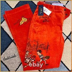 POLO RALPH LAUREN Mens Orange Corduroy Pants with Vintage Graphics 32x32 NWT