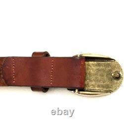 POLO Ralph Lauren Brown Leather Belt Brass Rider Pony Horse Buckle Size 32 Vtg