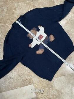 POLO Ralph Lauren Mens Sit Down Bear L Hand Knit Sweater Vintage USA Flag 90s
