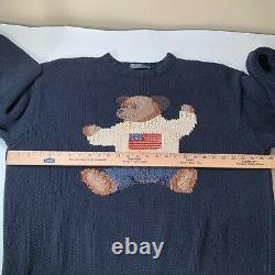 POLO Ralph Lauren Mens Sit Down Bear XL Hand Knit Sweater Vintage USA Flag 90s