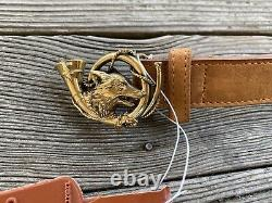 POLO Ralph Lauren Rare Vintage Leather Belt-FOX AND BUGLE BUCKLE -Size 32