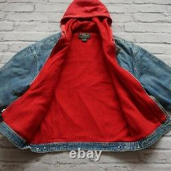 Polo Country Ralph Lauren Denim Trucker Jacket Hoodie Sweatshirt Made in USA Vtg