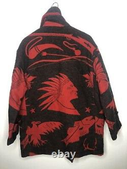Polo Country Ralph Lauren Jacket VTG Hunting Indian Serape RRL Aztec Peacoat Red