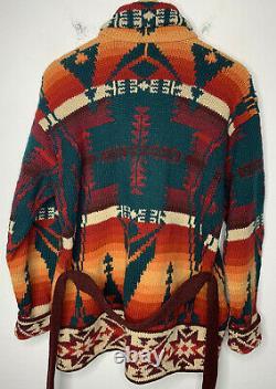 Polo Country Ralph Lauren Southwestern Sweater Peacoat Aztec RRL Beacon VTG Belt