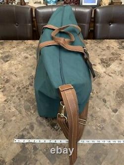 Polo Ralph Lauren 3 Piece Luggage Bag Set Green Canvas Brown Leather Vintage 90s