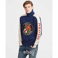 Polo Ralph Lauren Blue Vtg Retro Wool Crest Intarsia Ski Turtleneck Knit Sweater