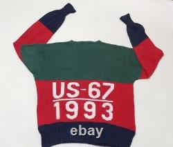 Polo Ralph Lauren Color Block Knit Sweater Snow Beach US-67 CP 1993 VTG Retro L