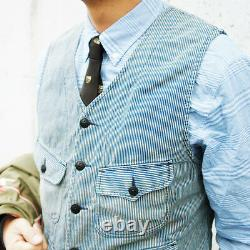 Polo Ralph Lauren Double Rl Rrl Indigo Hickory Striped Railman Work Vest $290+