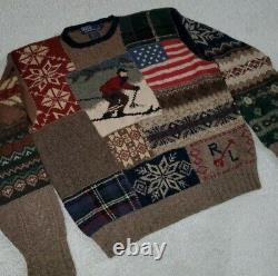 Polo Ralph Lauren Downhill Ski Patchwork Sweater 92 93 bear stadium rrl vtg L