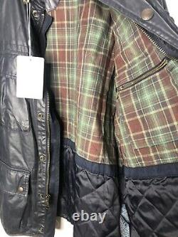 Polo Ralph Lauren Large Black Wax Coated Oil RRL Biker Military VTG Leather XL