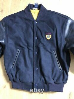 Polo Ralph Lauren Large Blue Iconic Letterman Varsity Jacket Leather RRL VTG