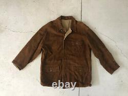 Polo Ralph Lauren Large Leather Hunting Brown Jacket RRL Reversible VTG Coat XL