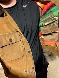 Polo Ralph Lauren Large Leather Trucker Jacket RRL Southwestern Beacon VtG Aztec