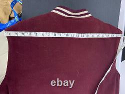 Polo Ralph Lauren Med Large Red Rugby Varsity Jacket Leather RRL VTG P Wing 67