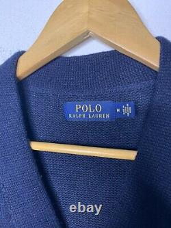 Polo Ralph Lauren Medium Iconic Letterman Sweater Cardigan Leather VTG Rugby RRL