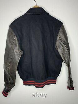 Polo Ralph Lauren Medium Iconic Letterman Varsity Jacket Leather RRL VTG Rugby S