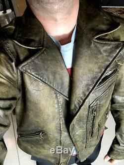 Polo Ralph Lauren Medium Leather Distressed Jacket RRL Coat VTG Biker Moto Grey