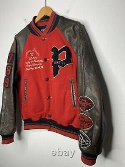 Polo Ralph Lauren Medium Red Letterman Varsity Jacket Leather RRL VTG Rugby Coat