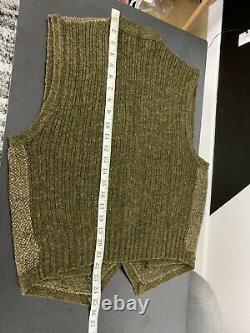 Polo Ralph Lauren Medium Tweed Vest Jacket Hunting RRL Rugby Green vTG Wool Silk