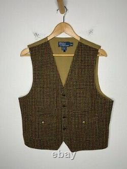 Polo Ralph Lauren Medium Vest Jacket RRL Rugby Tweed Brown Houndstooth VtG Gents