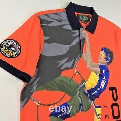 Polo Ralph Lauren Men VTG Orange Terrain Climber Graphic Polo Shirt M L Hi Tech