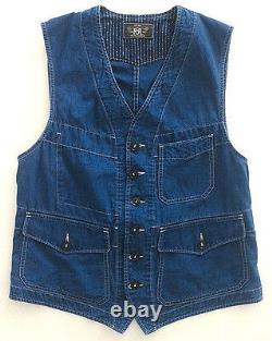 Polo Ralph Lauren Rrl Vintage Indigo Dyed Blue Calico Bernard Work Vest $490+