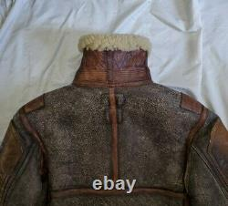 Polo Ralph Lauren Shearling Leather Bomber Flight Jacket Coat rrl rare vtg XS